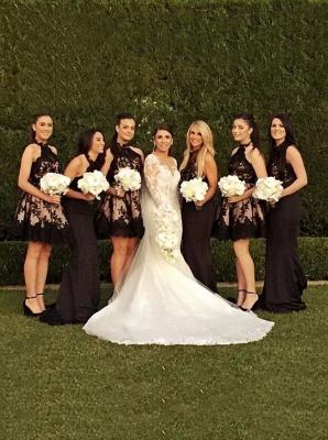 A-Line Sleeveless Applique Halter High-Neck Short Bridesmaid Dresses_3