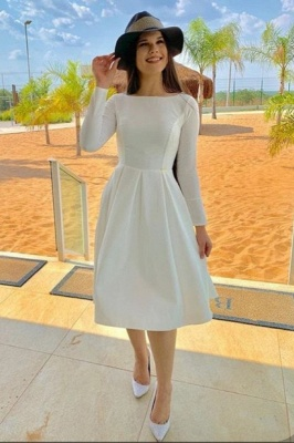 Bateau Long Sleeves Grace Tea Length Dresses for Wedding Party and Other Event_1