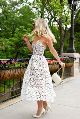 Stylish Spaghetti Straps V-neck A-line Midi Lace Wedding Guest Dresses_2