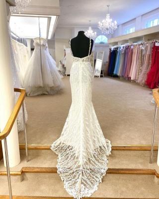 Sexy Spaghetti Strap V Neck Lace Sheath Detachable Skirt Overlay Wedding Dress_3