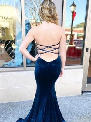 Dark Navy Mermaid Prom Dresses | Velvet Criss-cross Back Party Dresses_2