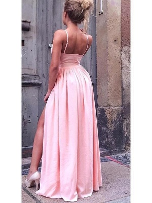 Hot Pink A Line Bridesmaid Dresses With Slit  | Spaghetti Strap Party Dresses For Wedding_2