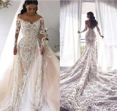 Long Sleeve Applique Detachable Skirt Mermaid Wedding Dresses   V Neck Wedding Gown_2