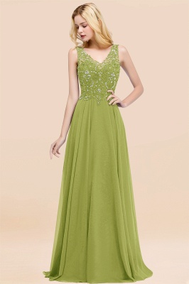 Straps V-neck A-line Simple Formal Gown for Prom And Bridesmaid_33