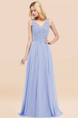 Straps V-neck A-line Simple Formal Gown for Prom And Bridesmaid_22