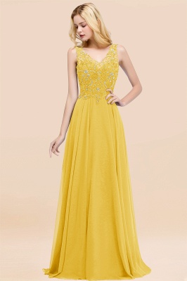 Straps V-neck A-line Simple Formal Gown for Prom And Bridesmaid_17