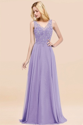 Straps V-neck A-line Simple Formal Gown for Prom And Bridesmaid_21