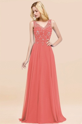 Straps V-neck A-line Simple Formal Gown for Prom And Bridesmaid_7