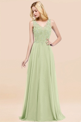 Straps V-neck A-line Simple Formal Gown for Prom And Bridesmaid_34