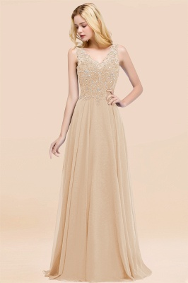 Straps V-neck A-line Simple Formal Gown for Prom And Bridesmaid_14