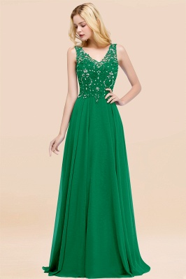 Straps V-neck A-line Simple Formal Gown for Prom And Bridesmaid_48
