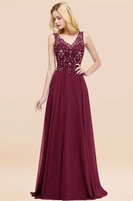 Straps V-neck A-line Simple Formal Gown for Prom And Bridesmaid_43
