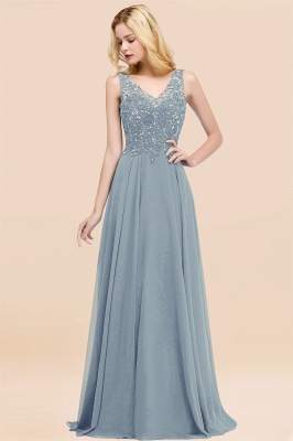 Straps V-neck A-line Simple Formal Gown for Prom And Bridesmaid_39
