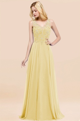 Straps V-neck A-line Simple Formal Gown for Prom And Bridesmaid_18