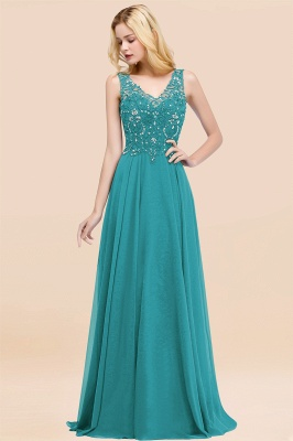 Straps V-neck A-line Simple Formal Gown for Prom And Bridesmaid_31