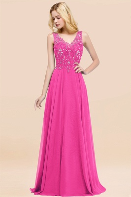 Straps V-neck A-line Simple Formal Gown for Prom And Bridesmaid_9