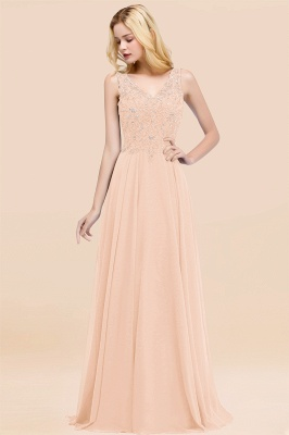 Straps V-neck A-line Simple Formal Gown for Prom And Bridesmaid_5