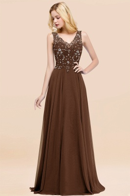 Straps V-neck A-line Simple Formal Gown for Prom And Bridesmaid_12