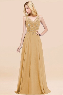 Straps V-neck A-line Simple Formal Gown for Prom And Bridesmaid_13