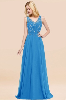 Straps V-neck A-line Simple Formal Gown for Prom And Bridesmaid_25