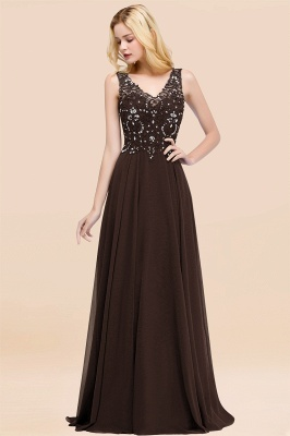 Straps V-neck A-line Simple Formal Gown for Prom And Bridesmaid_11