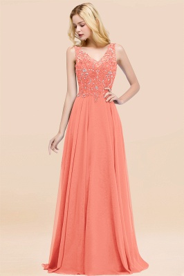 Straps V-neck A-line Simple Formal Gown for Prom And Bridesmaid_44