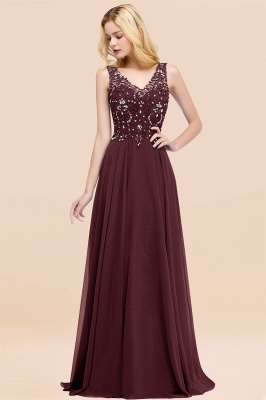 Straps V-neck A-line Simple Formal Gown for Prom And Bridesmaid_46