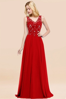 Straps V-neck A-line Simple Formal Gown for Prom And Bridesmaid_8