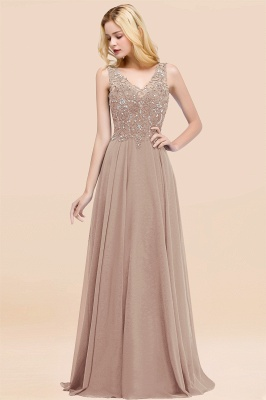 Straps V-neck A-line Simple Formal Gown for Prom And Bridesmaid_16