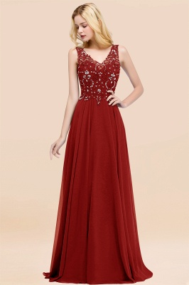 Straps V-neck A-line Simple Formal Gown for Prom And Bridesmaid_47