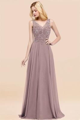 Straps V-neck A-line Simple Formal Gown for Prom And Bridesmaid_36