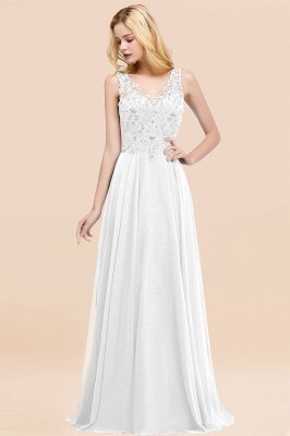 Straps V-neck A-line Simple Formal Gown for Prom And Bridesmaid_1