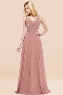 Straps V-neck A-line Simple Formal Gown for Prom And Bridesmaid_49