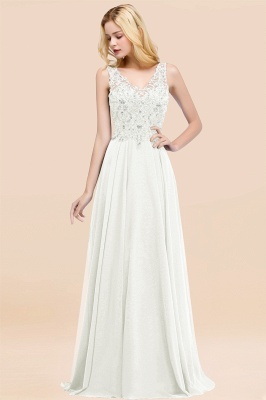 Straps V-neck A-line Simple Formal Gown for Prom And Bridesmaid_2