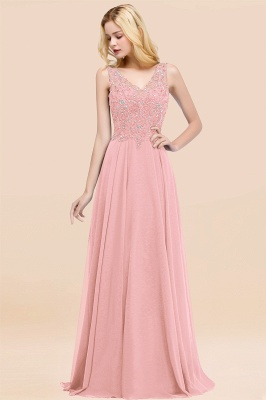 Straps V-neck A-line Simple Formal Gown for Prom And Bridesmaid_4