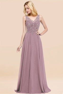 Straps V-neck A-line Simple Formal Gown for Prom And Bridesmaid_42