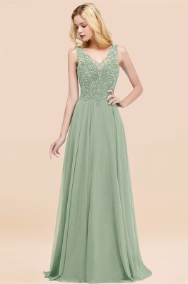 Straps V-neck A-line Simple Formal Gown for Prom And Bridesmaid_40