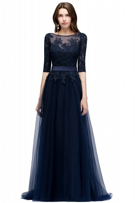 NANA | A-line Half Sleeves Floor Length Slit Appliqued Tulle Prom Dresses with Sash_3