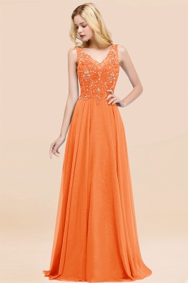 Straps V-neck A-line Simple Formal Gown for Prom And Bridesmaid_15