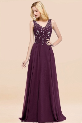 Straps V-neck A-line Simple Formal Gown for Prom And Bridesmaid_20