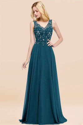 Straps V-neck A-line Simple Formal Gown for Prom And Bridesmaid_27