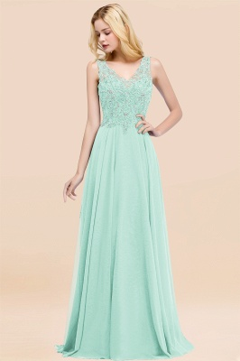 Straps V-neck A-line Simple Formal Gown for Prom And Bridesmaid_35
