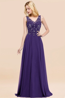 Straps V-neck A-line Simple Formal Gown for Prom And Bridesmaid_19