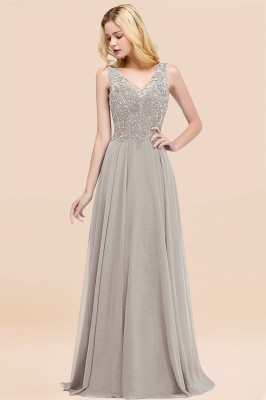 Straps V-neck A-line Simple Formal Gown for Prom And Bridesmaid_30