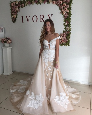 Champagne Sheer Neckline Backless Applique Detachable Skirt Sheath Wedding Dresses_3