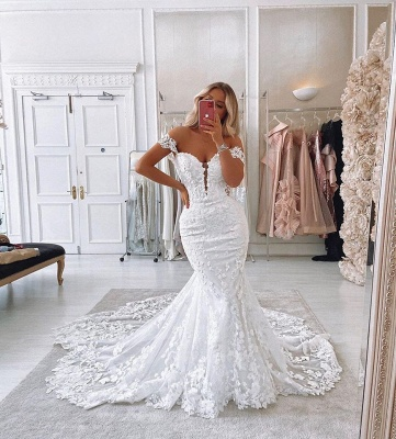 Off The  Shoulder Deep V Neck Applique Fit And Flare Mermaid Wedding Dresses_3