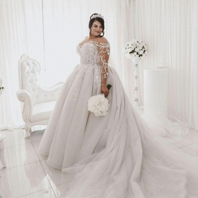 Plus Size Jewel Long Sleeve Applique Ball Gown Wedding Dresses | Pearls Bridal Gown_4