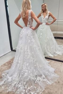 Elegant Long A-line V-neck Backless Lace Wedding Dress