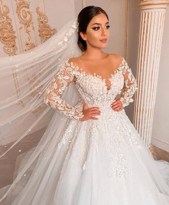 Royal Jewel Long Sleeve Floral Ball Gown Wedding Dresses | Beaded Puffy Wedding Gown_3