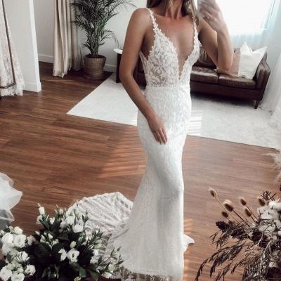Casual Straps V Neck Lace Column Wedding Dresses | Detachable Skirt Wedding Gown_2